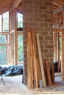 Färdig stomme inifrån huset, sent 1990-tal/tidigt 2000-tal.